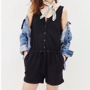 Madewell Black Button-front Jacquard Romper